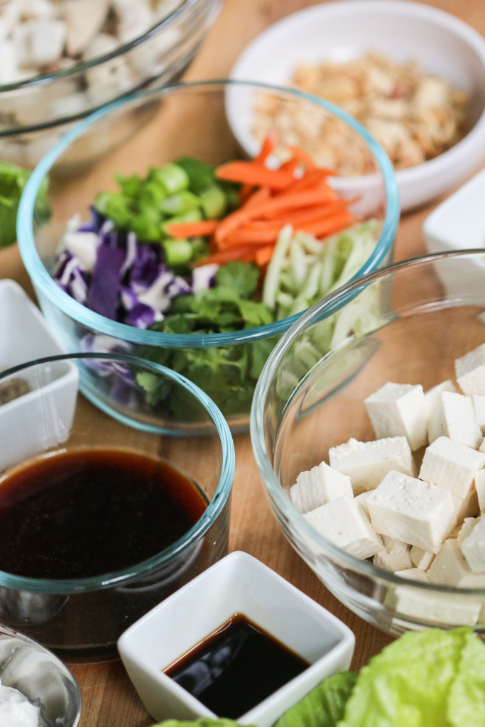 mushroom lettuce teriyaki wraps tofu vegetarian