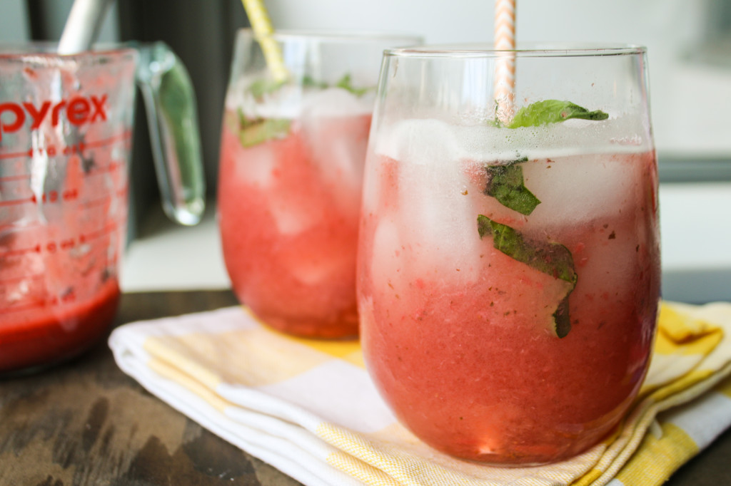 Strawberry Basil Spritzer drink refresher recipe summer brunch