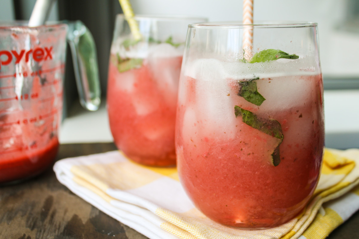 Strawberry Basil Spritzer drink refresher recipe summer