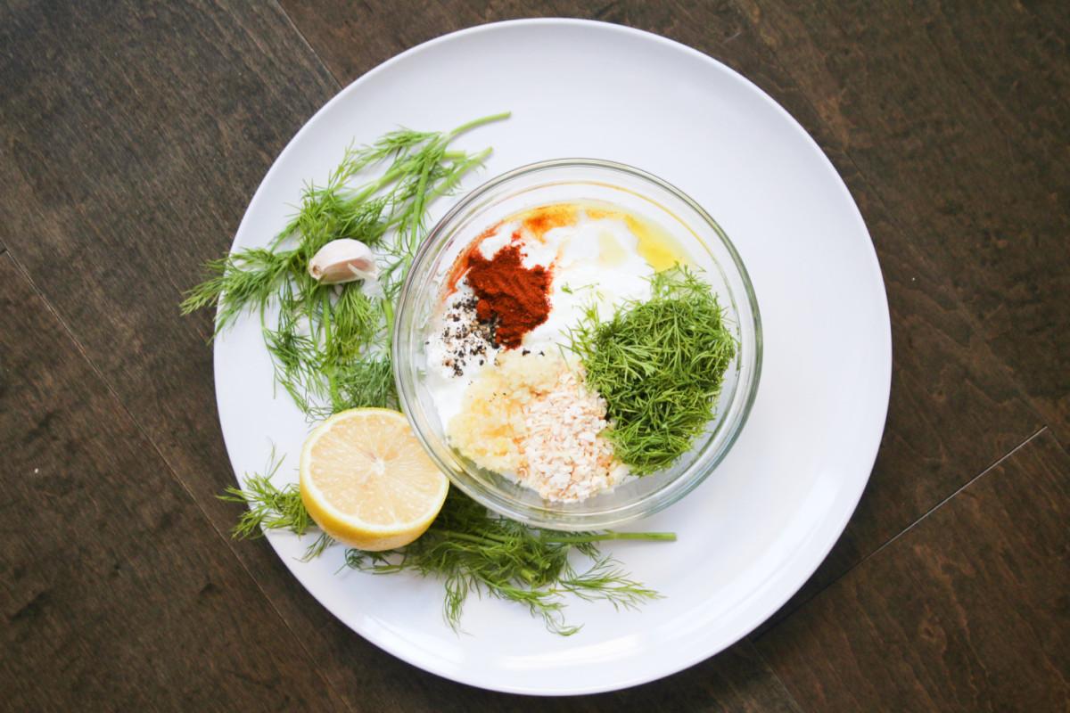 garlic dill herb greek yogurt dip
